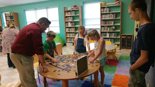 Puzzle break - you never know what fun things are going to happen in the children's library!